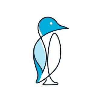 펭귄 라인 아트 그림 영감 로고 디자인 다채로운 동물 남극 벡터