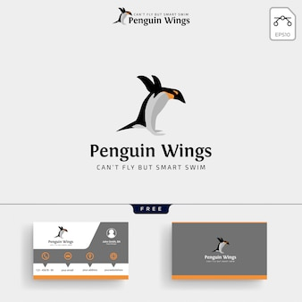 Penguins logo template and business card