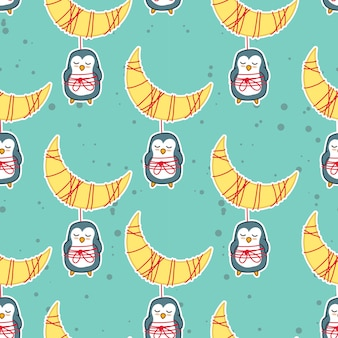 Penguins and moon in sweet dream pattern.