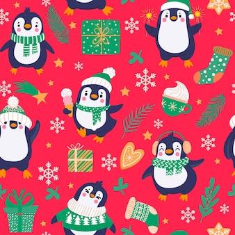 펭귄 완벽 한 패턴입니다. 겨울 옷과 모자, 크리스마스 북극 동물, 유치한 섬유 벡터 질감에 만화 귀여운 펭귄. 진저브레드를 든 동물, 컵에 핫초코