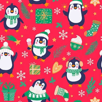 Penguins seamless pattern. cartoon cute penguins in winter clothing and hats, christmas arctic animals, childish textile vector texture. animals with gingerbread, hot chocolate in cup