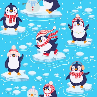 ペンギンのシームレスなパターン。冬の衣類や帽子、クリスマス北極圏の動物、子供のテキスタイルや壁紙のベクトルテクスチャのかわいい赤ちゃんペンギン。冷たい水の中の氷の上に立っているキャラクター
