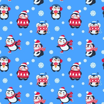 Penguins seamless pattern. cute christmas package with funny baby penguin. winter holiday textile background