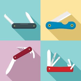 Penknife icons set, flat style