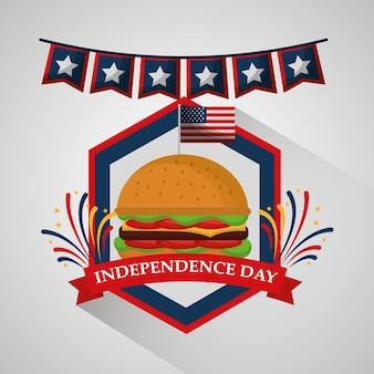 Pennant and burger food for american independence day