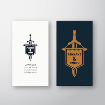 ペナントと剣の抽象的なベクトルのロゴとレトロなtypograpと名刺テンプレートヴィンテージエンブレム...