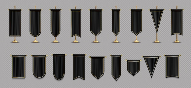 黒と金色のモックアップのペナントフラグ
