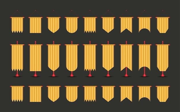 검정색과 금색 색상 모형의 페넌트 깃발