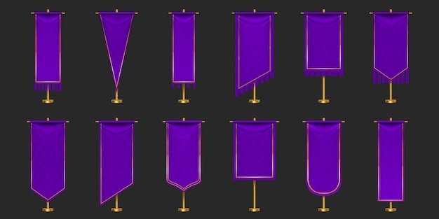 Pennant flags of purple and gold colors mockup, blank vertical banners with different edge shapes hanging on flagpole.