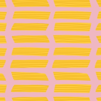 Penne pasta food pattern vector background in pink cute doodle style