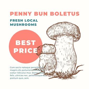 Penny bun boletus promo template hand drawn mushrooms