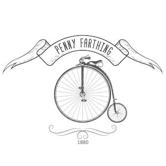 ペニーファージング自転車のヴィンテージエンブレム、1890年代の大きな前輪を備えたレトロな自転車 Premiumベクター