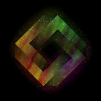 내부에 우주 공간이 있는 펜로즈 불가능한 사각형. 벡터, 분기 eps 10입니다.