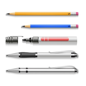 Pens, pencils, markers, realistic set of writing tools
