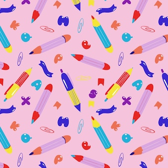 Pens and pencils seamless pattern.