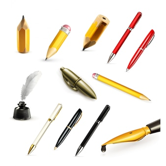 Pens and pencils, set icons