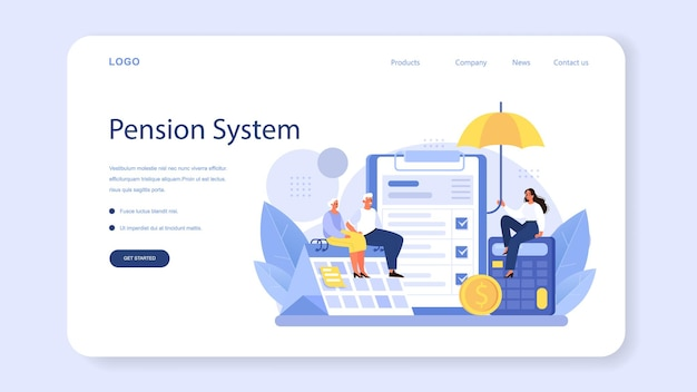 Pension fund employee web banner or landing page. specialist helps senior people to save money for retirement, financial independence. economy and wealth, pension plan. vector flat illustration