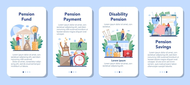 Pension fund mobile application banner set. saving money for retirement, financial independence idea. economy and wealth, pension plan.