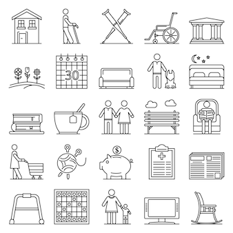 Pension icon set. outline set of pension vector icons