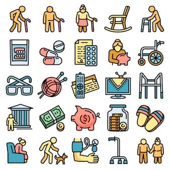 Pension icons set, outline style