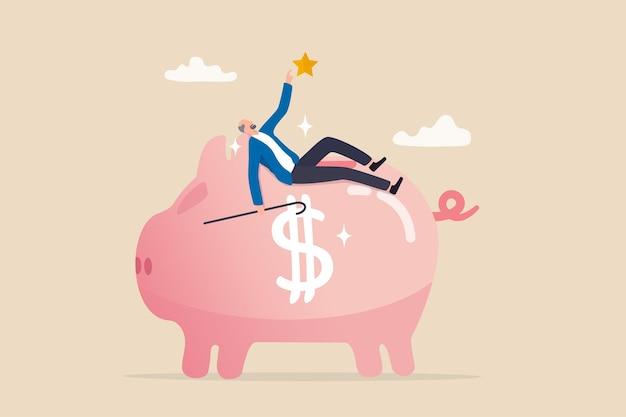 고령 퇴직자를 위한 연금 계획, 퇴직 저축 기금, ira, roth 또는 401k, 노인 개념을 위한 자산 관리, 행복한 노인은 부유한 돼지 저금통 연금 기금에 누워 휴식을 취합니다.
