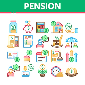 Pension retirement collection icons set