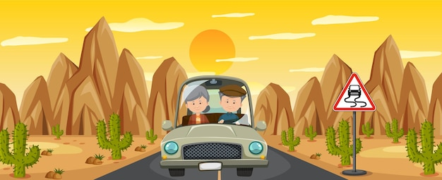 砂漠のロードトリップで運転している年金受給者のカップル