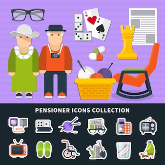 Pensioner flat colored elements set