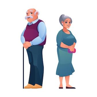 Пенсионеры пожилой мужчина и женщина пожилого возраста вектор