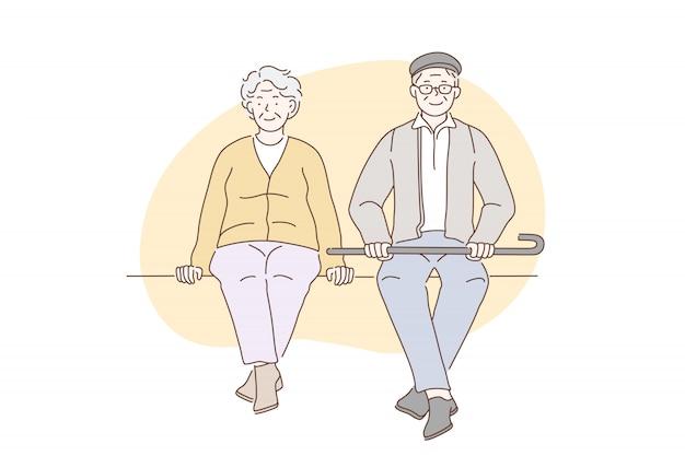연금 수급자, 조부모, 노인.