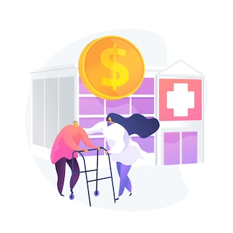 Pensioners healthcare expenses. senile patients treatment, budget finance, health insurance program. nurse assisting elderly man, retired client. vector isolated concept metaphor illustration
