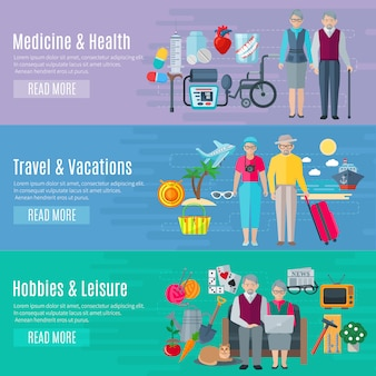 Pensioners life banners set with medicine vacations and leisure symbols