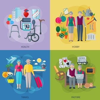 Pensioners life concept icons set with health hobby travel and pastime symbols