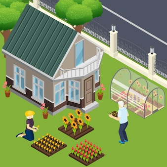 Pensioners near own home during work in garden isometric