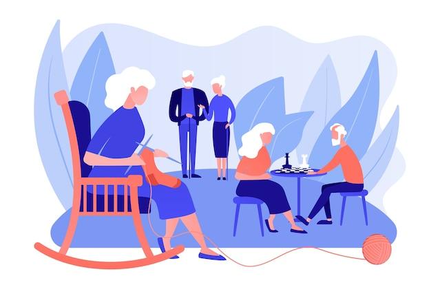 Пенсионеры проводят время в доме престарелых. пожилая пара играет в шахматы. мероприятия для пожилых людей, пожилой активный образ жизни, концепция проведения времени пожилых людей. розовый коралловый синий вектор изолированных иллюстрация