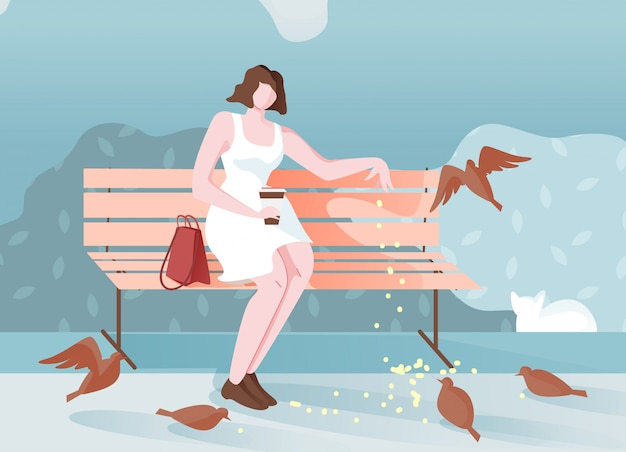 Pensive girl in park sits and feeds birds cartoon.