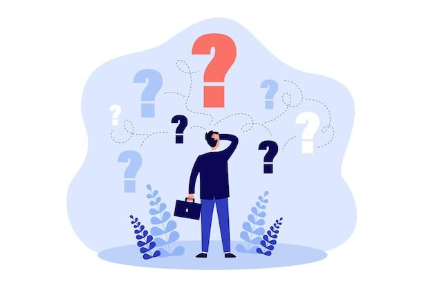 Задумчивый человек, стоящий и принимающий деловое решение, изолировал плоскую иллюстрацию