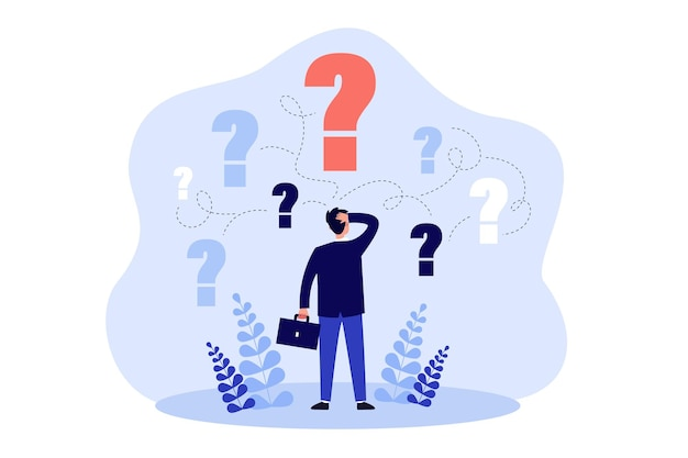 Pensive man standing and making business decision isolated flat illustration
