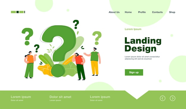 Pensive people asking frequently asked questions isolated landing page in flat style