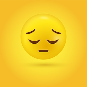 잠겨있는 슬픈 이모티콘 얼굴 또는 3d 실망 이모티콘