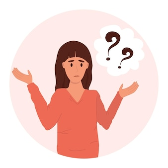 Pensive woman vector illustration. thinking or making decision in cartoon style. emotions of surprise and bewilderment