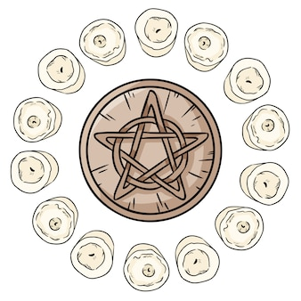 Pentacle occult sign in a circle of white candles