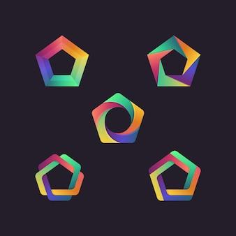 Pentagon abstract geometric shape logo set