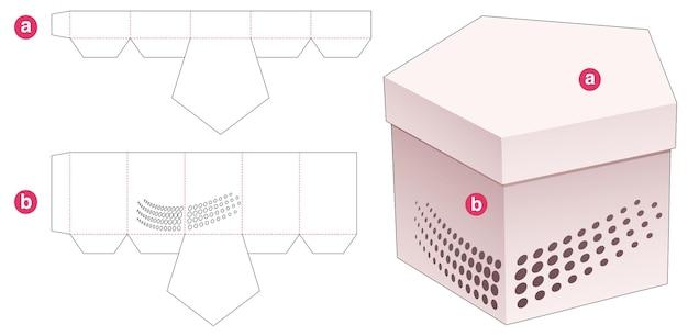 ステンシルハーフトーンドットダイカットテンプレート付きペンタゴンボックスと蓋のパッケージ