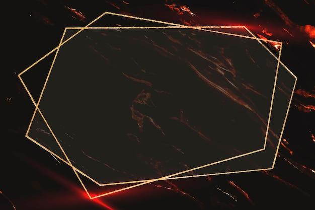 抽象的な背景にペンタゴンゴールドフレーム 無料ベクター