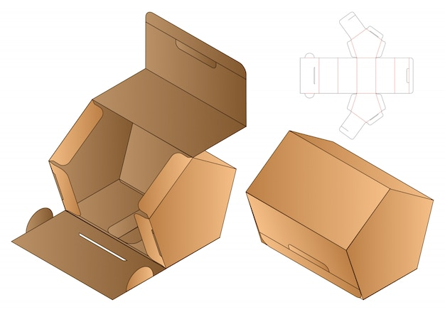 Pentagon shape paper bag packaging diecut template