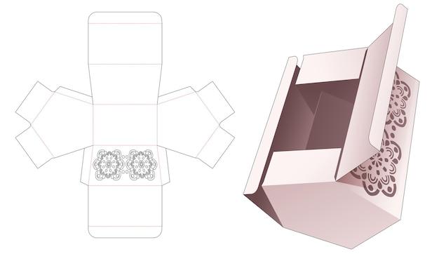 만다라 스텐실 다이 컷 템플릿이있는 오각형 상자