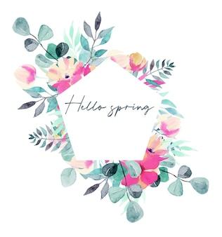 수채화 물감 봄 식물 핑크 꽃과 유칼립투스 가지의 오각형 프레임