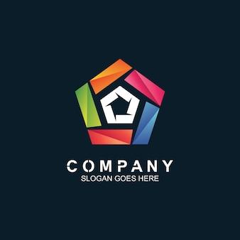 Pentagonal logo design Premium Vector