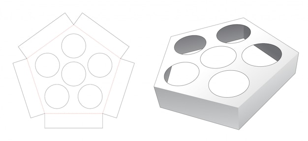 Pentagonal shaped cup cake container insert die cut template
